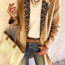 Load image into Gallery viewer, Fashion leopard stitching long sleeve coat