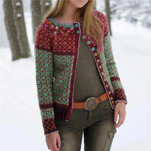 Load image into Gallery viewer, Casual Round Neck Brocade Cardigan