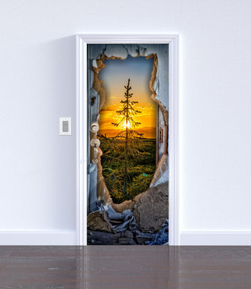 Forest through the wall - DIY SKINS, , Doors, DIY SKINS, 3d Murals, DIY SKINS Diyskins.com