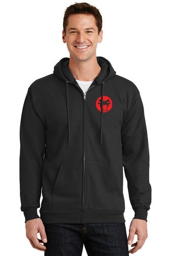 Black zip up hoodie 9-ounce, 50/50 cotton/polyester fleece lined mens/unisex hooded sweatshirt