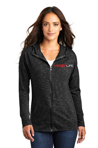 Women's Ladies black grey heather full zip hoodie, hooded sweatshirt, light weight, soft formfitting hoodie