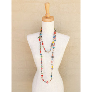 Paper Bead Necklace Long