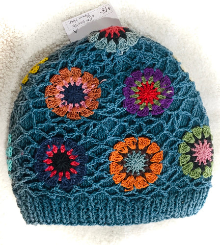 Cotton Crocheted Flower Beanie