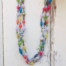 Load image into Gallery viewer, Paper Bead Necklace Three Strand