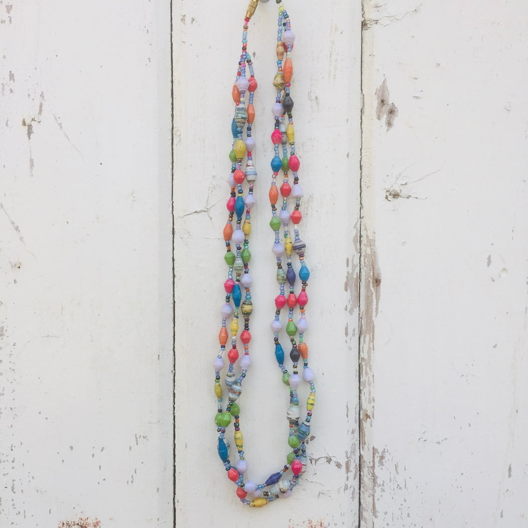Paper Bead Necklace Three Strand