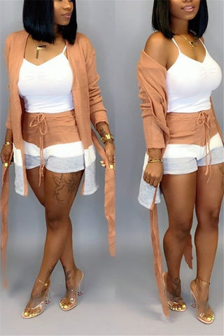 Cardigan Coat& Shorts Sets
