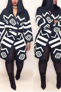 Geometric Printed Belted Outwear - ezcute