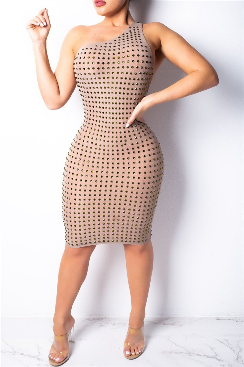 Diamond Studded Open Back Dress - ezcute