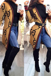 Striped Letter Printed Coat