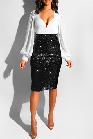 Shining Sequins Skirt With Lining - ezcute