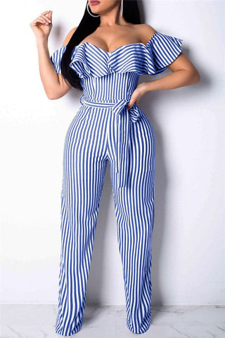 Off Shoulder Flounce Striped Jumpsuit - ezcute