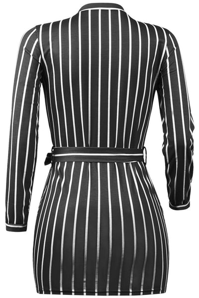 Stripe Printed Mini Dress With Belt - ezcute