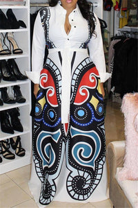 Plus Size Digital Printed Dress With Belt