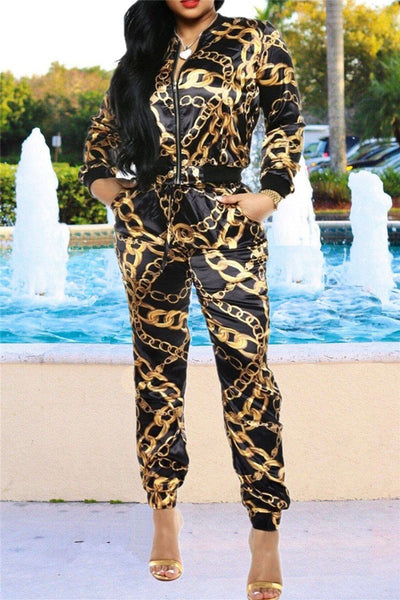 Black & Gold Chain Printed Sets - ezcute