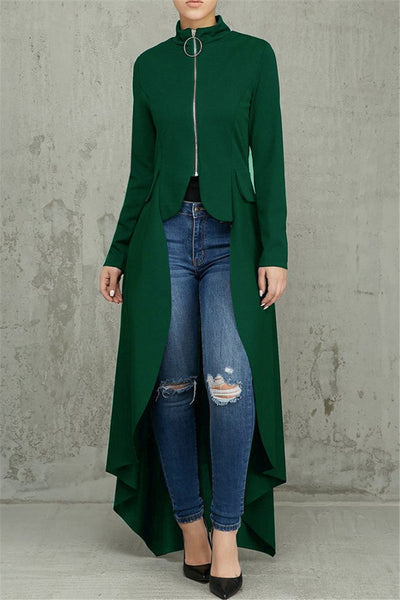 Irregular Hem High Collar Zipper Jacket - ezcute