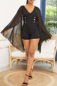 Solid Color Romper With Chiffon Cloak - ezcute