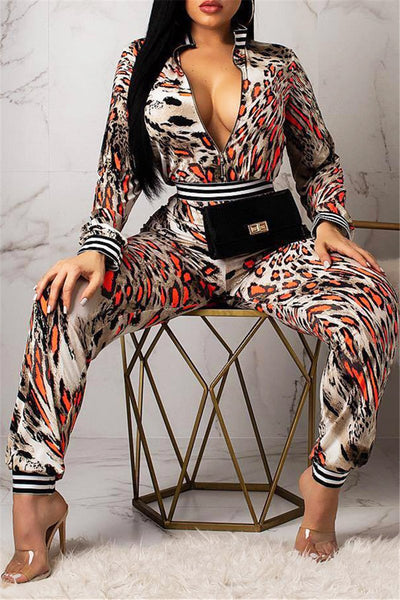 Leopard Printed Ruched Jumpsuit - ezcute