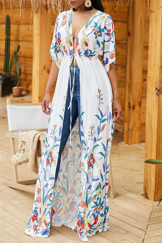 Floral Printed Wrap Cover Up - ezcute