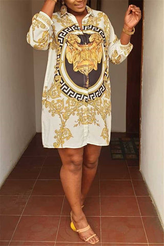 Casual Printed Shirt Dress - ezcute