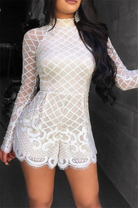 Net Yarn Lace Splicing Romper - ezcute