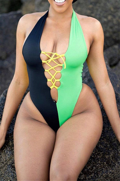 Color Splicing Bandage Swimsuit - ezcute