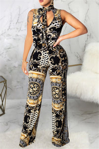 Printed Wrap Sleeveless Jumpsuit With Pocket - ezcute
