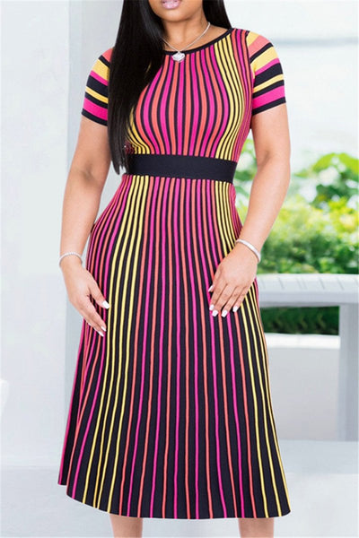 Colorful Stripe Midi Dress - ezcute
