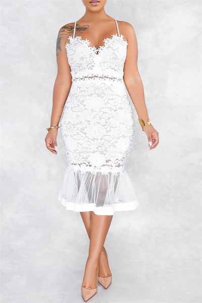 Lace Net Yarn Splicing Fishtail Midi Dress - ezcute