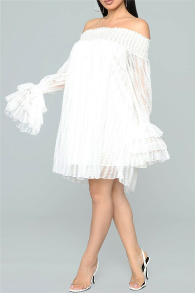 Off Shoulder Net Yarn Splicing Dress - ezcute