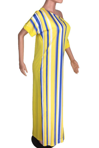Casual Striped Maxi Dress With Pocket - ezcute