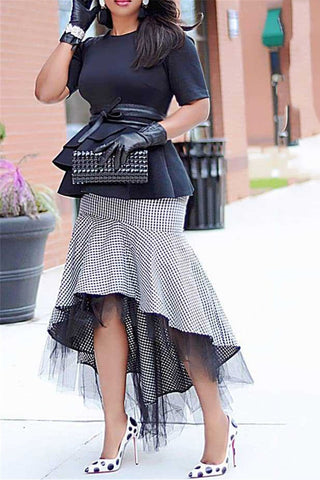 Lattice Net Yarn Splicing Skirt - ezcute