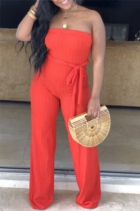 Solid Color Strapless Belted Jumpsuit - ezcute