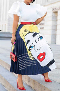 Cartoon Printed Pleated Skirt - ezcute
