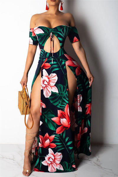 Floral Printed Hollow Out Split Dress - ezcute