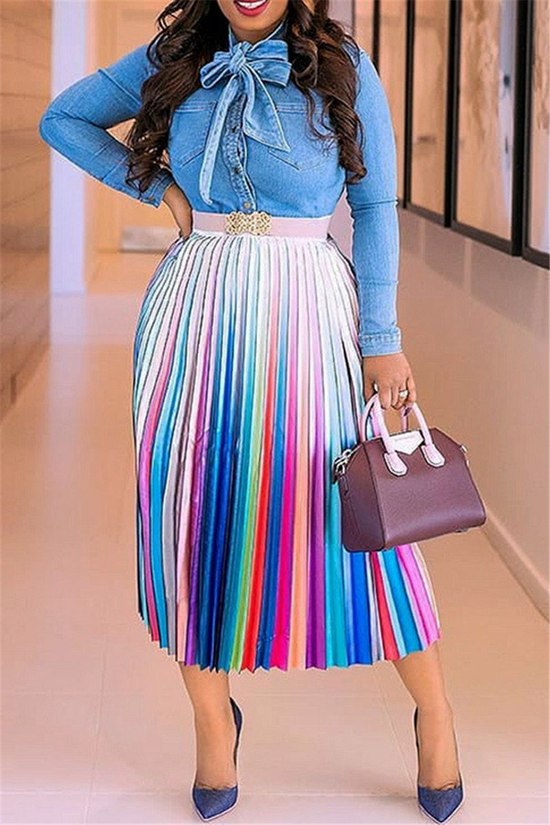 Casual Printed Pleated Skirt - ezcute