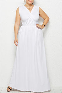 Plus Size Sleeveless Maxi Dress - ezcute