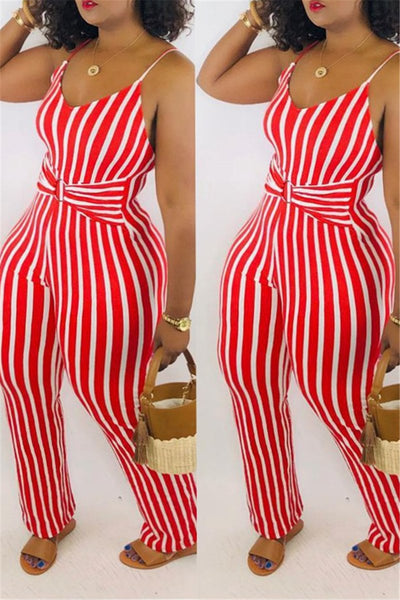 Striped Cami Jumpsuit - ezcute