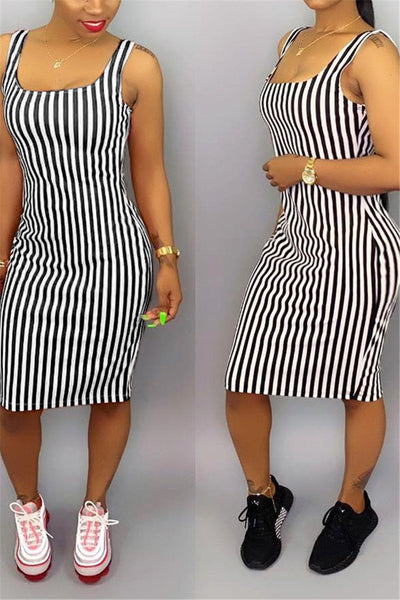 Striped Cami Midi Dress - ezcute