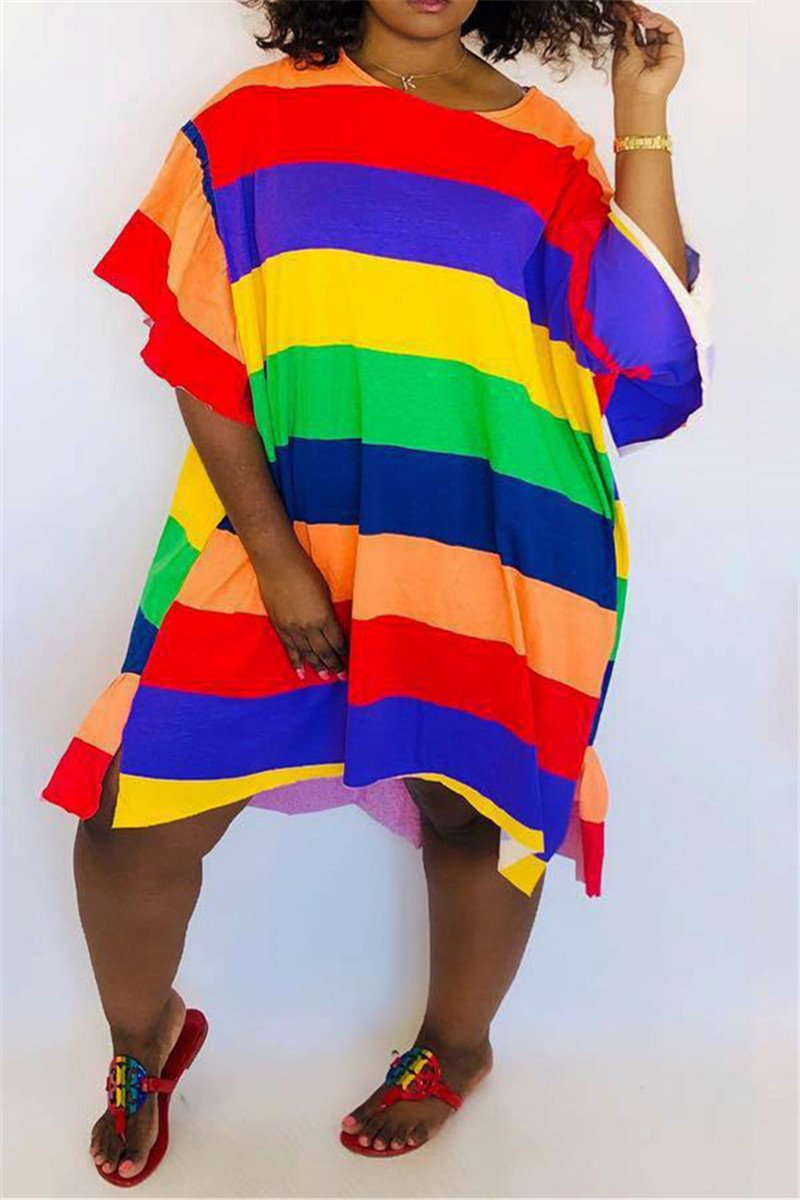 Flounce Hem Rainbow Striped Dress - ezcute