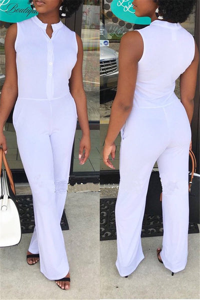 Solid Color Sleeveless Jumpsuit - ezcute