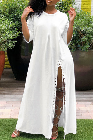 Casual High Split Bandage Maxi Dress - ezcute