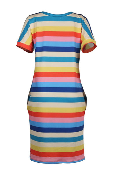 Casual Rainbow Striped Dress With Pocket - ezcute