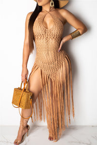Tassel Crochet Beach Cover Up Dress - ezcute