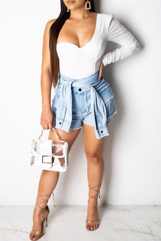 High Waist Distressed Wrap Denim Shorts - ezcute