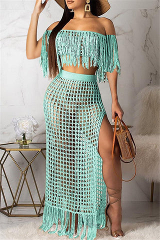 Hollow Out Tassel Sleeveless Two PC Sets