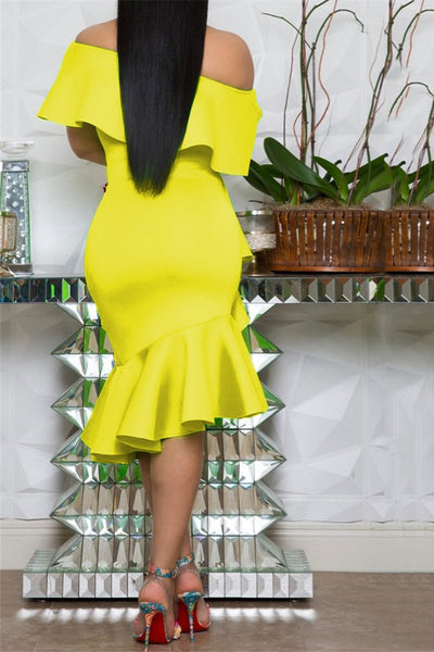 Solid Color Flounce Hem Midi Dress - ezcute