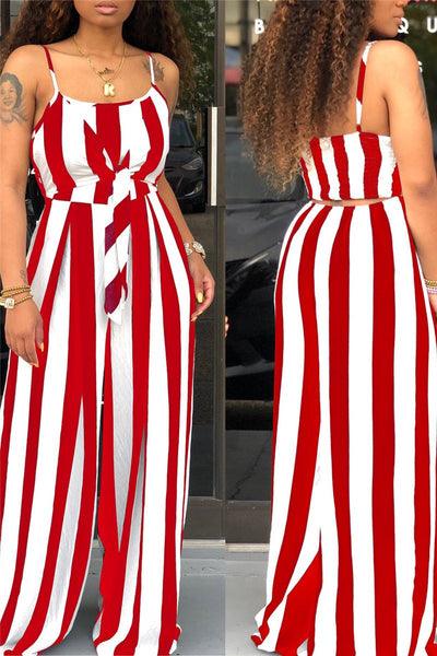 Striped Bandage Cami Jumpsuit - ezcute