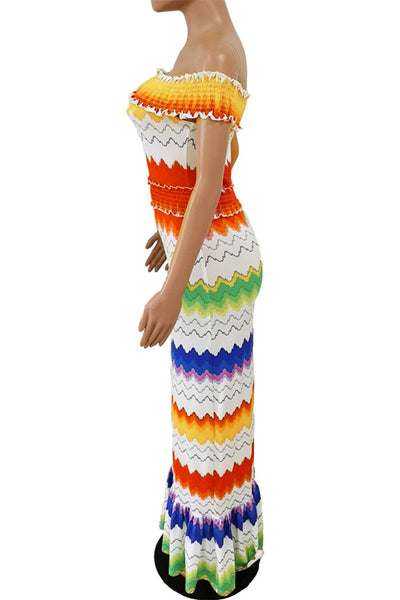 Off Shoulder Wave Printed Maxi Dress - ezcute