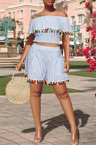 Off Shoulder Striped Tassel Sets - ezcute