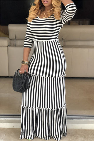 Plus Size Striped Maxi Dress - ezcute